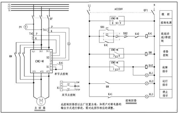 电机软启动器的主接线图