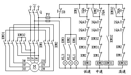 三速电动机电气控制原理图
