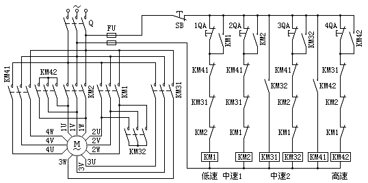 四速电动机电气控制原理图