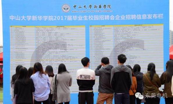 中大新华学院的2017届毕业生校招现场1-东莞电机