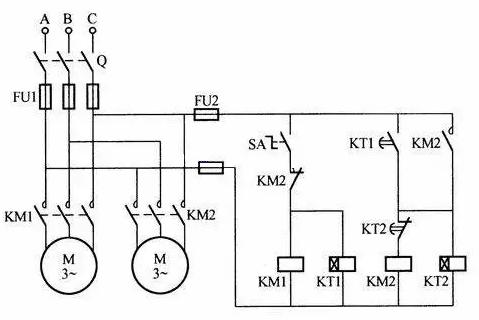 两台电机定时交替工作的控制电路图