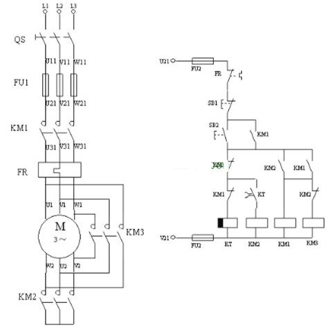 电机Y-△转换控制的继电器线路