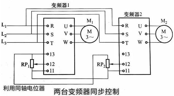 两台变频器,拖动两台电机运行的电路图