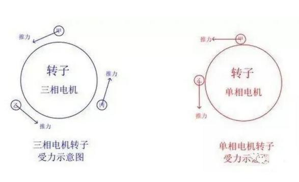 三相电机转子和单相电机转子受力示意图
