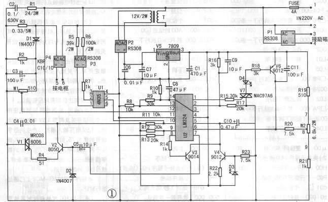 广东电机厂这块电路板电路简单,成本不高,制作容易,电路作简单分析:220V交流电经变压器T降压,P2整流,V5稳压得到9V直流电压,为四运放集成芯片LM324提供工作电源。P1整流输出是提供直流电机励磁电源。P4整流由可控硅控制得到0-200V的直流,接电机电枢,实现电机无级调速。R1,C2是阻容元件,保护V1可控硅。R3是串在电枢电路中作电流取样,当电机过载时,R3上电压增大,经D1整流,C3稳压,W1调节后进入LM324的12脚,与13脚比较从14脚输出到1脚,触发V7可控硅,D4 LED红色发光管