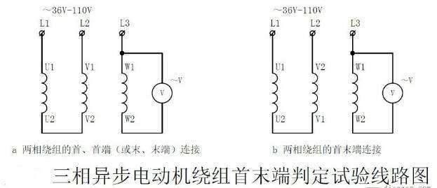 三相异步电动机绕组首末端判定实验线路