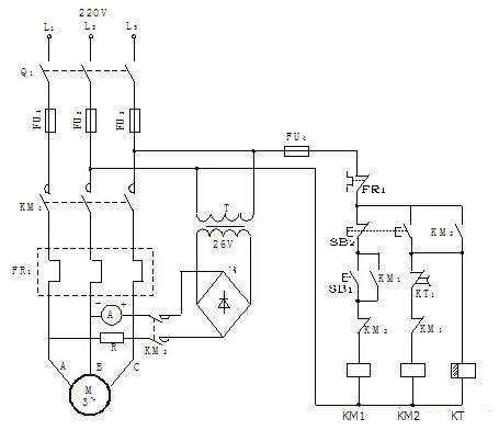 时间继电器控制三相异步电动机能耗制动控制线路