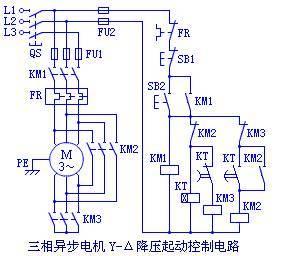 三相异步电机Y-Δ降压起动控制电路图