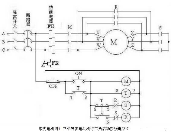 三相异步电动机行三角启动接线电路图